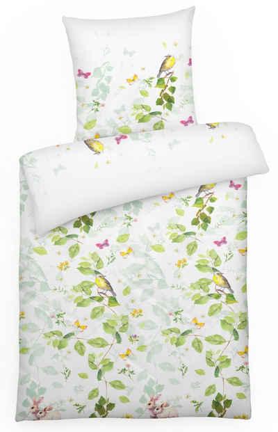 Bettwäsche »Mako-Satin Bettwäsche Set mit Vogel Hase & Schmetterling aus 100% Baumwolle«, Carpe Sonno, Hochwertige Mako Satin Bettwäsche 155x220 cm, Bettgarnitur mit Tier-Muster, Ganzjahresbettwäsche, angenehm kühl Bett-Wäsche, weich auf der Haut, edler Bettbezug für hohen Schlafkomfort