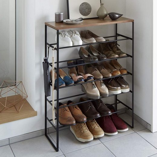 Yamazaki Schuhregal »Tower«, Schuhablage, aus Metall, für 15 bis 18 Paar Schuhe, freistehend, mit Ablage