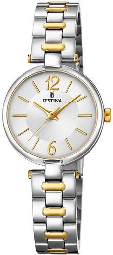 Festina Quarzuhr »UF20312/1 Festina Damen F20312/1 Edelstahl«, (Analoguhr), Damen Armbanduhr rund, Edelstahlarmband silber, gold