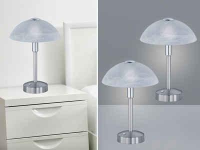 meineWunschleuchte LED Nachttischlampe, 2er SET Tisch-Leuchten mit Touch-Dimmer, Berührungsschalter Lampen im Landhaus-Stil für Fensterbank