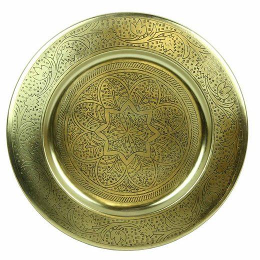Casa Moro Dekotablett »Marokkanisches Serviertablett Nermin rund aus Metall in Antik-Gold Look, Orientalisches Teetablett Farbe Gold, Kunsthandwerk aus Marrakesch«, TTB305G