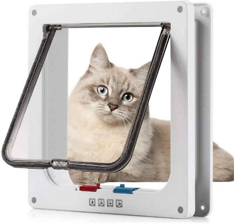 Favson Katzenklappe »Katzenklappe Hundeklappe 4 Wege Magnet-Verschluss für Katzen, Klein Hunde,23,5 x 25cm Hundetür Katzentür L Haustierklappe, Installieren Leicht«