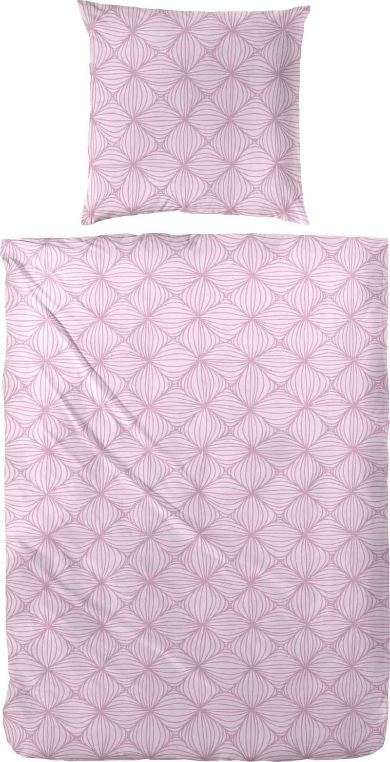 Bettwäsche »Biber-Bettwäsche Rosarot«, Primera, Mit einem traumhaften rosaroten Muster