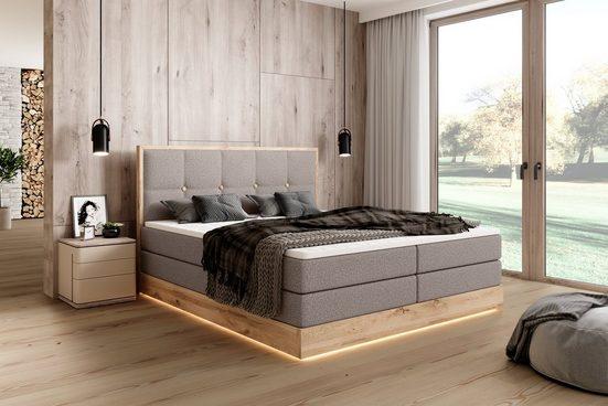 Premium collection by Home affaire Boxspringbett »Etno«, incl. Bettkasten und Topper, LED-Lichtkante unter dem Bett, massive Eiche, Obermatratze 7-Zonen-Taschenfederkern