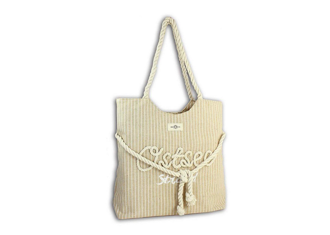 robin ruth -  Schultertasche »OTG2101C  Strandtasche Canvas beige« (Strandtasche), Strandtasche, Schultertasche Baumwolle, Polyester, braun ca. 37cm x ca. 46cm