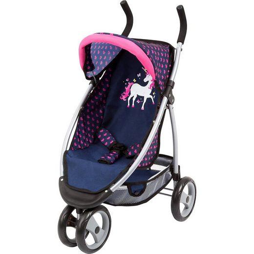 Bayer Puppenwagen »Puppen-Jogger Sport Einhorn blau/pink«
