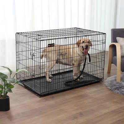 FEANDREA Hundekäfig »PPD48H PPD48BK PPD48W«, Hundezwinger Hundebox Schutzgitter mit 2 Türen 122 x 76 x 81 cm schwarz
