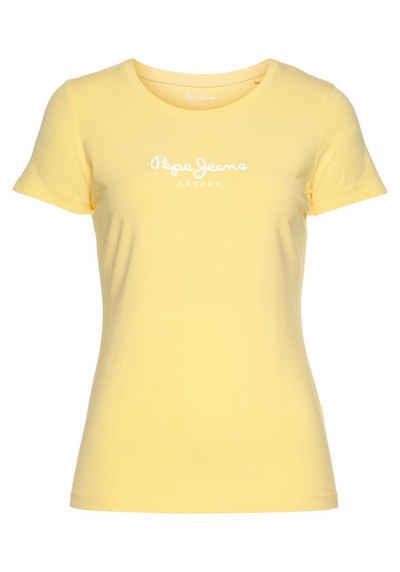 Pepe Jeans Print-Shirt »NEW VIRGINIA« in unifarbenem Design in toller Basic Passform mit großem Markenschriftzug im Brustbereich