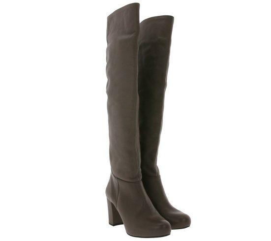 Unisa »UNISA Weitschaft-Stiefel schicke Damen Lederimitat-Stiefel Made in Spain Overknee-Stiefel Braun« Weitschaftstiefel