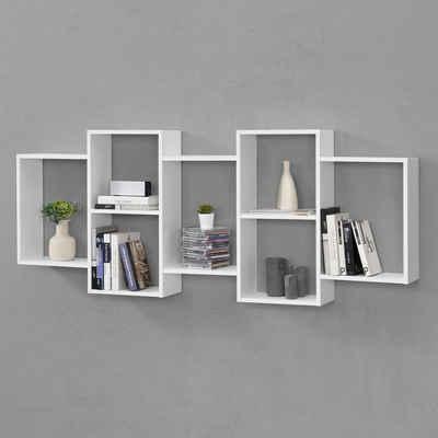 en.casa Wandregal, Hängeregal, »Jessheim« Bücherregal Schweberegal Wandboard CD Regal Weiß