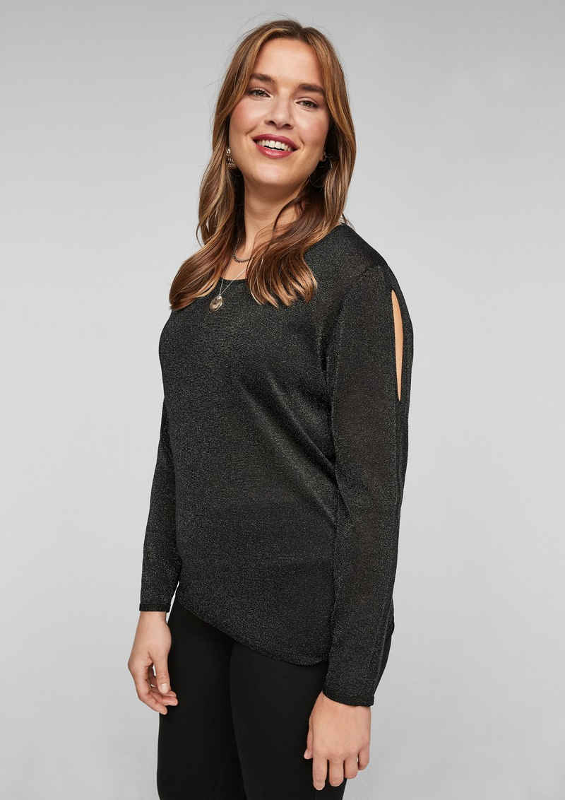 TRIANGLE Strickpullover »Glitzer-Pullover mit Cut Outs« (1-tlg) Cut Out