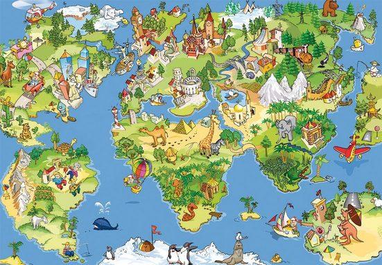 Papermoon Fototapete »Kids World Map«, matt, (5 St), Vlies, 5 Bahnen, 250 x 180 cm