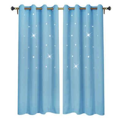Vorhang »Sterne Vorhang Kinderzimmer Gardinen, Stores Verdunklungs BLICKDICHT Vorhänge«, Rosnek, (2 Stück), Store, B*H:132x160cm; 132x183cm; 132x213cm