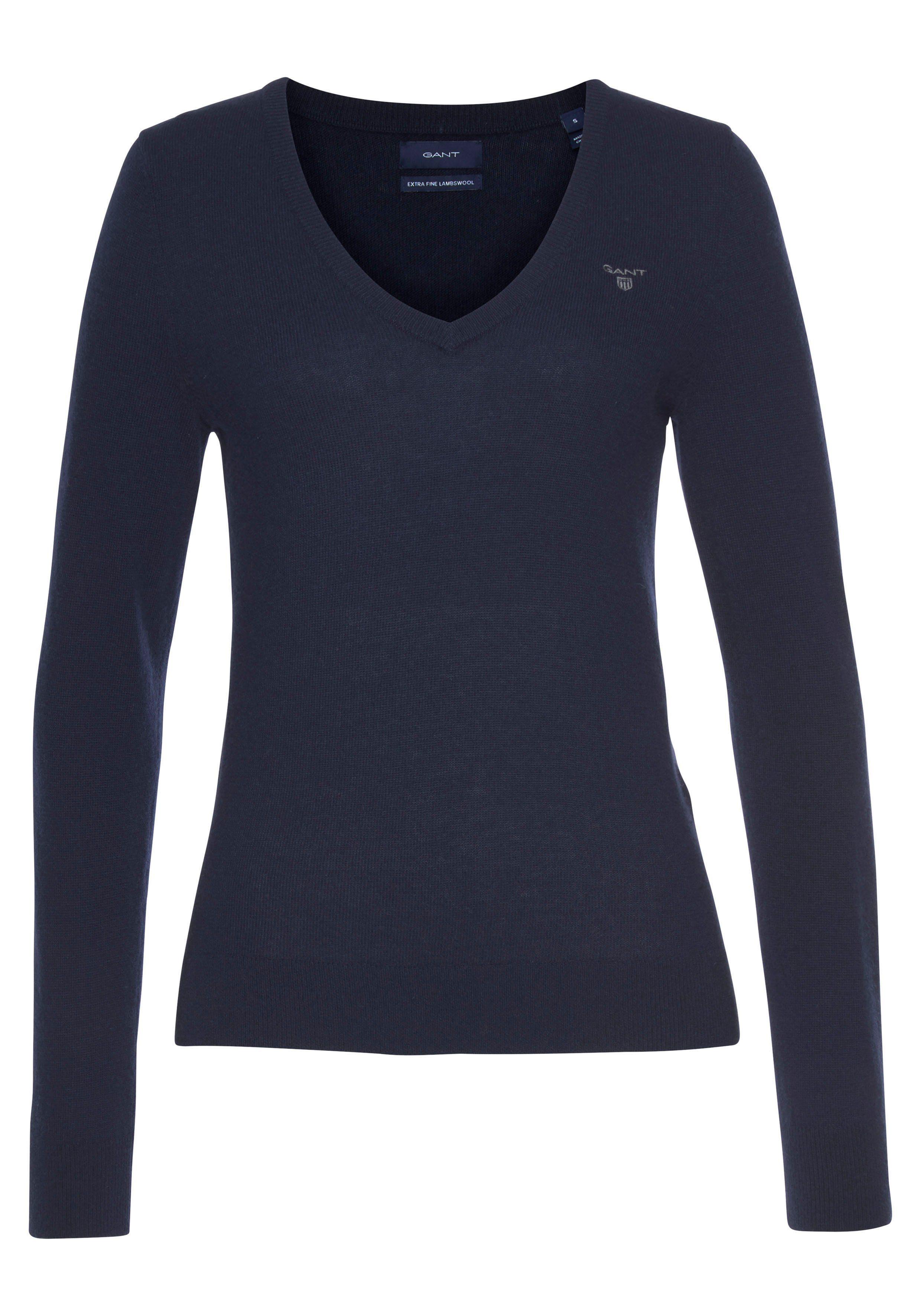 XL Gr bordeaux Gant V-Ausschnitt-Pullover aus hochwertiger Wolle 42