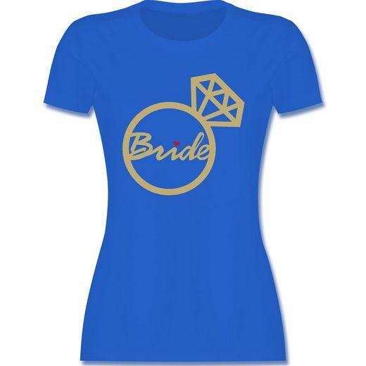 Shirtracer T-Shirt »Bride - Diamantring - JGA Junggesellenabschied Frauen - Damen Premium T-Shirt - T-Shirts« tshirt bride