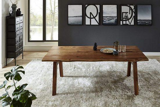 SAM® Baumkantentisch »Nele«, Akazie Massivholz nussbaumfarben 35mm natürliche Baumkante