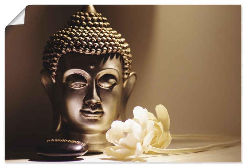 Artland Wandbild »Buddhas Kopf Ruhe mit weißen Rosen«, Religion (1 Stück), in vielen Größen & Produktarten - Alubild / Outdoorbild für den Außenbereich, Leinwandbild, Poster, Wandaufkleber / Wandtattoo auch für Badezimmer geeignet