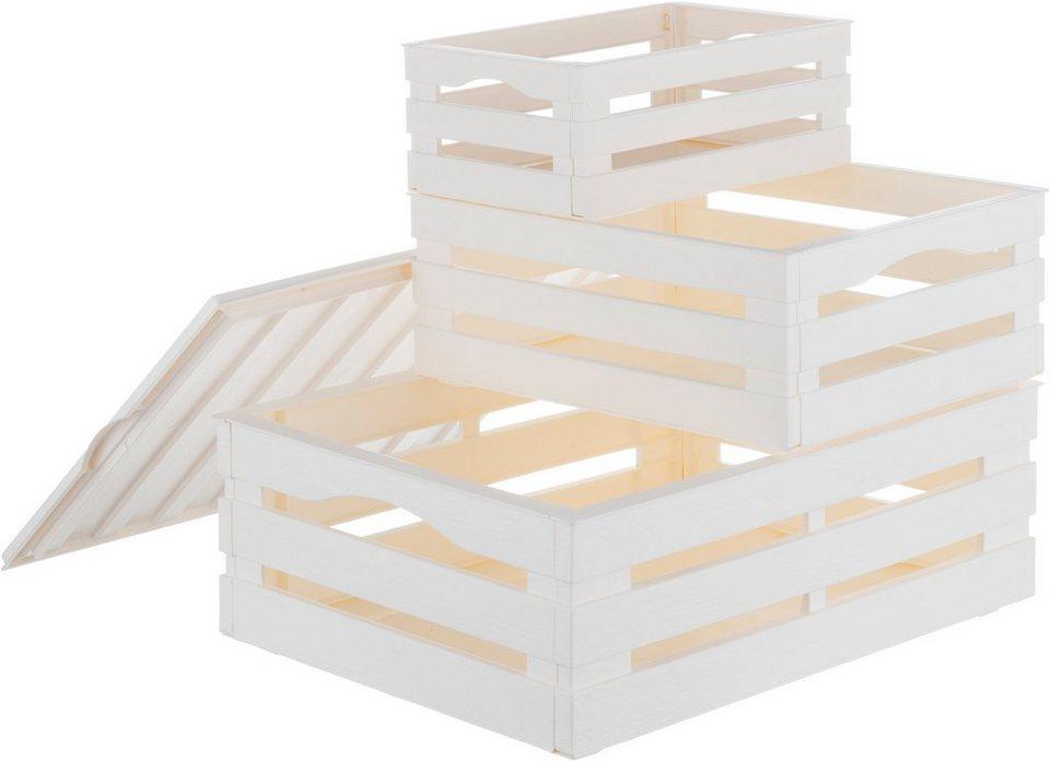 Aufbewahrungsbox Holzoptik in weiß Stapelbox Dekobox Geschenkbox 3er Set