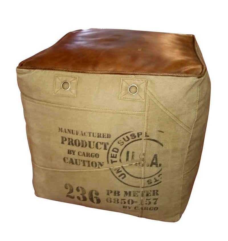 Kobolo Sitzwürfel »Sitzpouf CANVAS quadratisch Kunstleder - Aufdruck«