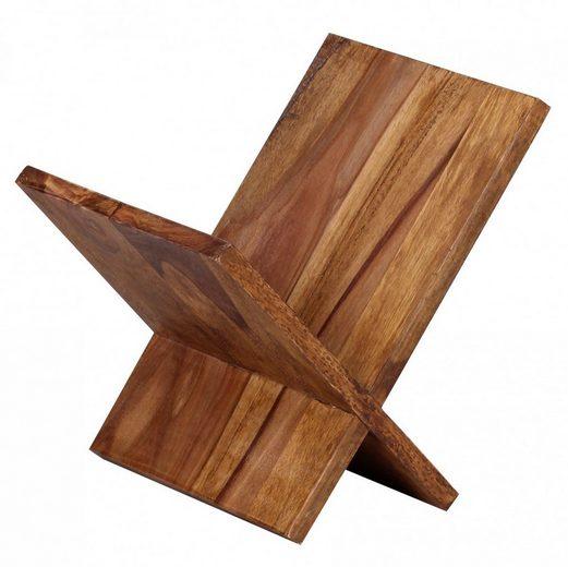 Wohnling Zeitungsständer »WL1.590«, Zeitungsständer MUMBAI Massivholz Sheesham X-Form 31 cm Zeitschriften-Ständer Design Prospekt-Halter Landhaus-Stil