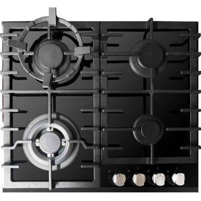 Kaiser Küchengeräte Gas-Kochfeld KCG 6383, Einbau Gaskochfeld 60cm, Schwarz Glas, Einbau Herd, 3,8kW WOK, Gas auf Glas, Erdgas Propangas