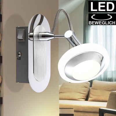 Globo Wandleuchte, LED Wand Strahler Spot Leuchte verstellbar Wohn Zimmer Beleuchtung ALU Lampe Globo 56955-1