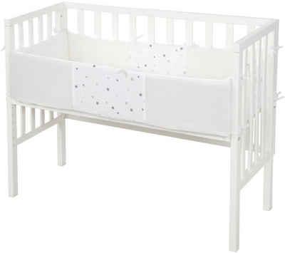 roba® Beistellbett »Safe Asleep® 2in1, weiß, Sternenzauber grau«, mit Matratze, Nestchen und Sicherheitsbarriere