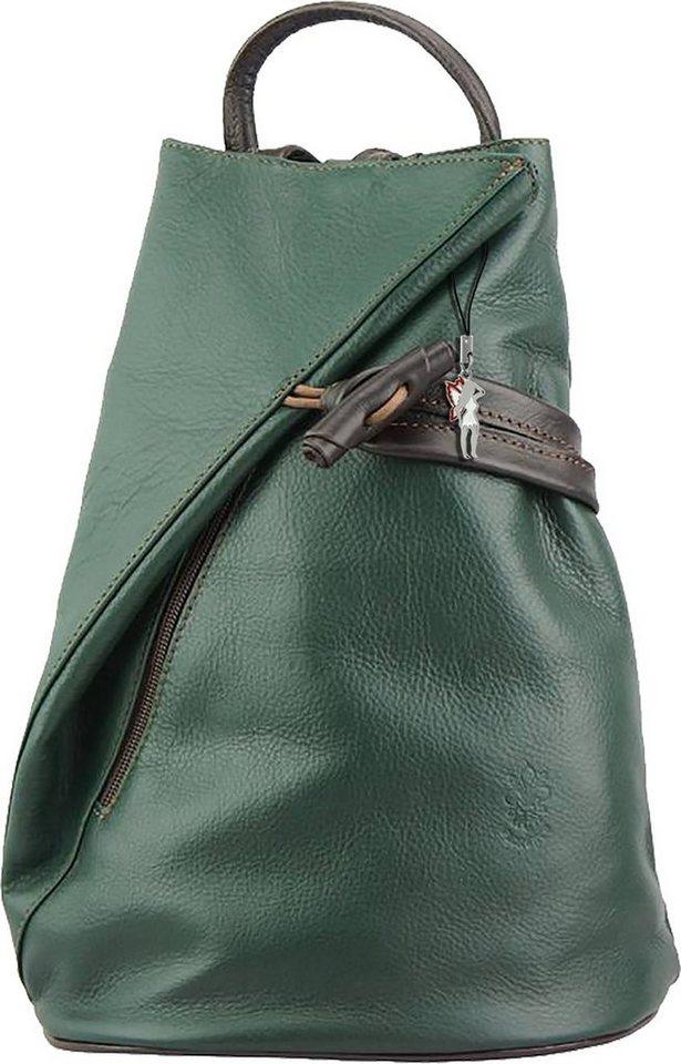 florence -  Cityrucksack »OTF605G  Damen Rucksack Schultertasche«, Damen Rucksack, Echtleder grün, braun