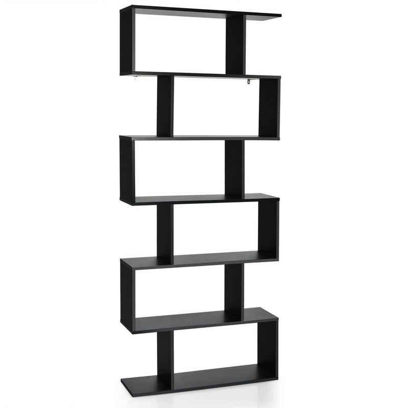COSTWAY Bücherregal »Standregal, Aktenregal«, S-Form, mit 6 Ebenen, inkl. Befestigungsmaterial