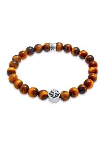Kuzzoi Bead-Armband-Set »Herren Tigerauge Kompass Beads 925er Silber«, Edelsteinarmband