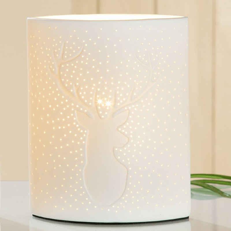 GILDE Nachttischlampe »Lampe Ellipse Hirsch H 20cm«