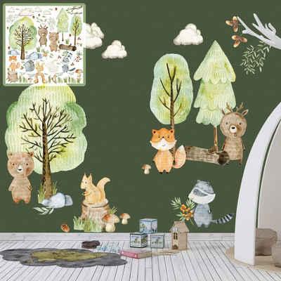 Sunnywall Wandtattoo »XXL Wandtattoo Kinder Woodland Set verschiedene Motive Kinderzimmer Aufkleber Wanddeko Waldtiere Wald Baum«