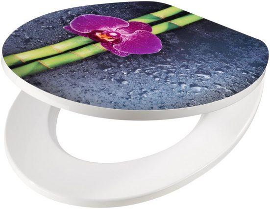 WC-Sitz »Orchidee lila Bambus«, MDF Toilettensitz mit Absenkautomatik