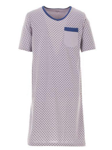 Henry Terre Nachthemd »Henry Terre Nachthemd Herren Kurzarm Brusttasche Bedruckt LilieNachthemd Herren Kurzarm V-Ausschnitt Brusttasche«