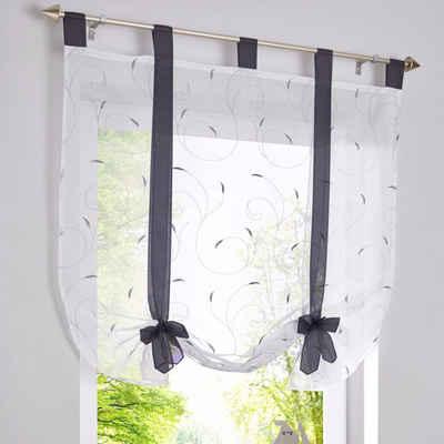 Bändchenrollo »Bestickt Raffrollo Gardinen Vorhang Fenstergardinen Scheibengardinen«, i@home, mit Schlaufen, mit Stickerei