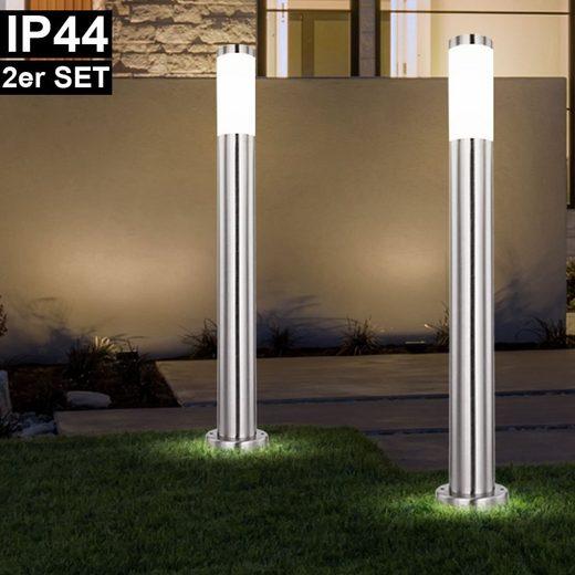 etc-shop LED Außen-Stehlampe, 2er Set Außen Steh Leuchten Edelstahl Garten Weg Außen Beleuchtung Stand Strahler Hof Säulen Lampen