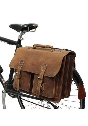 Gusti Leder Fahrradtasche »Tony M.«, Umhängetasche Aktentasche Bürotasche Fahrradtasche mit Klickfix-Adapter
