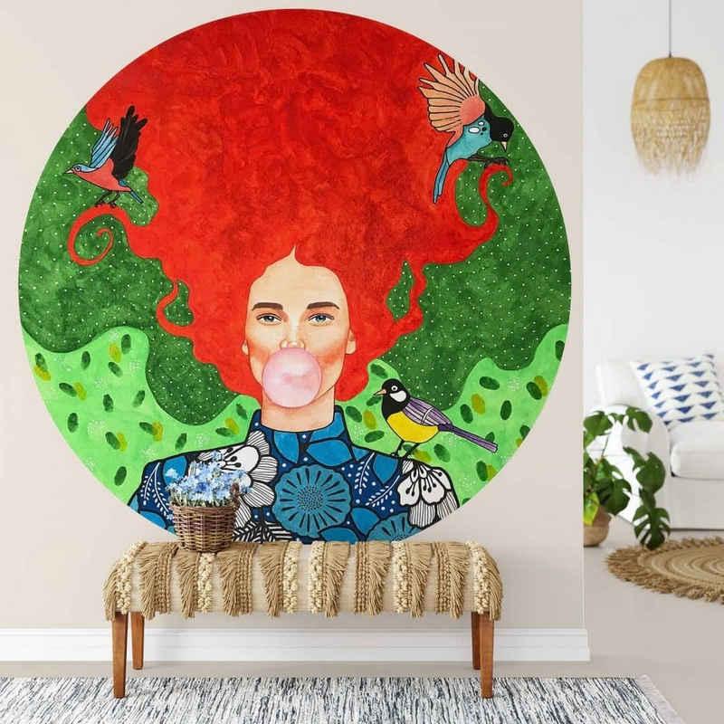K&L Wall Art Fototapete »Runde Fototapete Hülya Rote Zora Tapete Florale Frau Vliestapete Wandbild«, Kaugummi