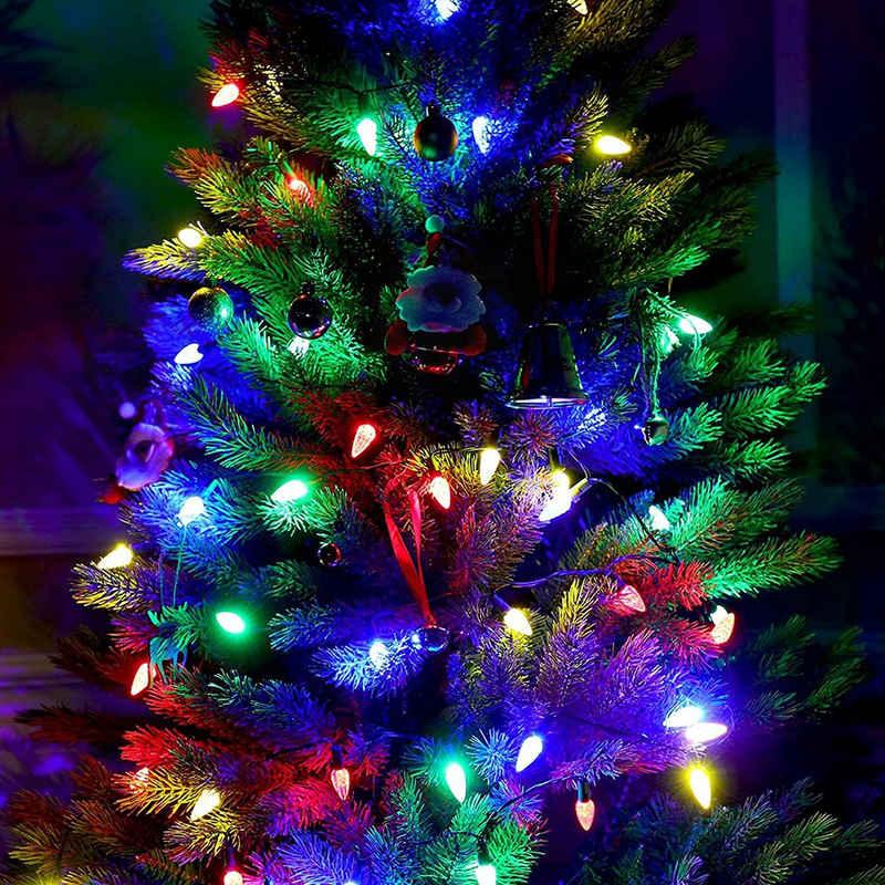 Rosnek LED-Lichterkette »10M 100 LEDs Bunte Erdbeerbirnen Lichterketten, 8 Modi Batterie betrieben, für Weihnachten Garten«, IP65 Wasserdicht,Timer Funktion