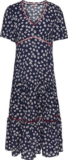 TOMMY JEANS Volantkleid »TJW PRINTED LACE TRIM DRESS« mit allover Blumendruck & modischen Bordüren