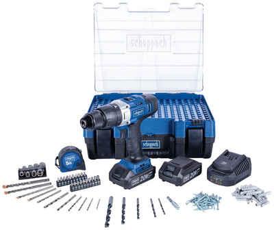 Scheppach Akku-Schlagbohrmaschine »DTB-20ProS«, max. 1600 U/min, (Set), inkl. 2x Akku, Ladegerät und 206-tlg. Zubehörset