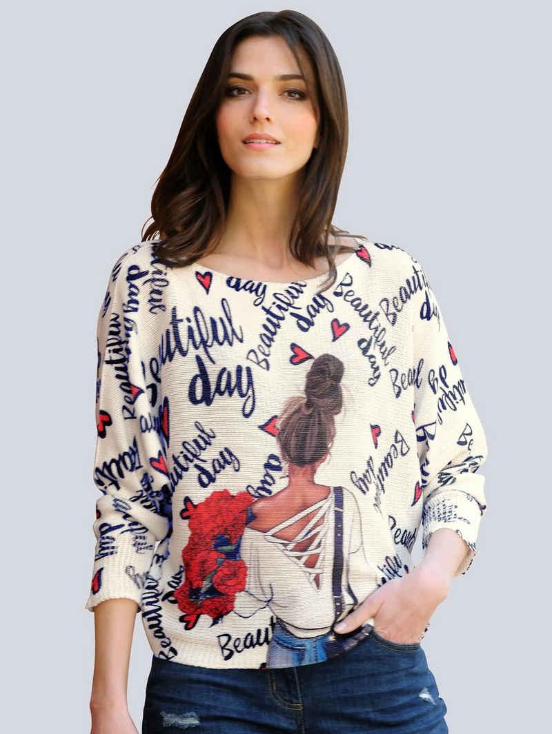 Alba Moda Fledermauspullover mit ausgefallenem Print allover