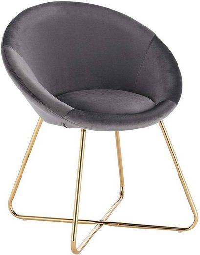 Woltu Esszimmerstuhl »BH217« (Set, 1 Stück), Polsterstuhl Wohnzimmerstuhl Sessel, Sitzfläche aus Samt, goldene Metallbeine, Dunkelgrau