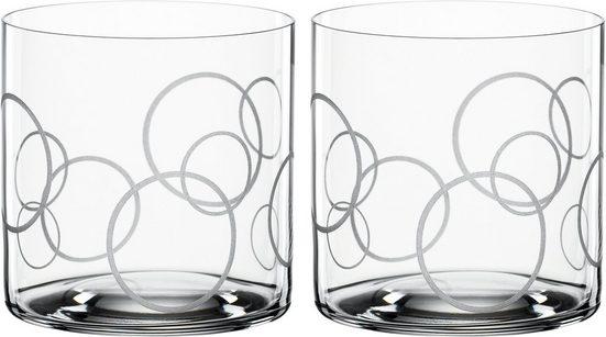 SPIEGELAU Tumbler-Glas »Circles«, Kristallglas, Dekor graviert, 330 ml, 2-teilig