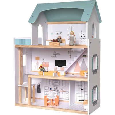 myToys Puppenhaus »Puppenhaus mit Möbel + 3 Biegepuppen«