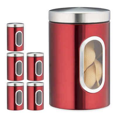 relaxdays Vorratsdose »6x Vorratsdose mit Sichtfenster rot«, Metall
