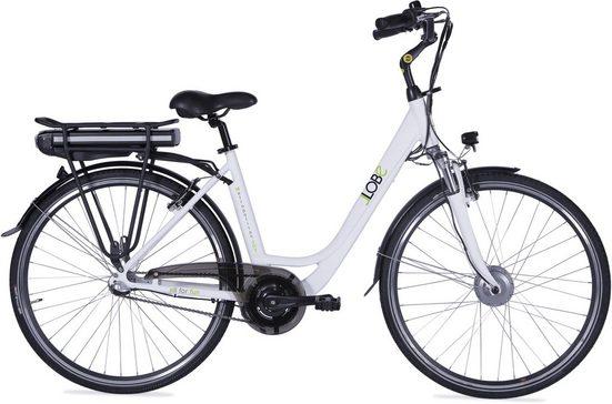 LLobe E-Bike »Metropolitan JOY weiß 10 Ah«, 3 Gang, Nabenschaltung, Frontmotor 250 W