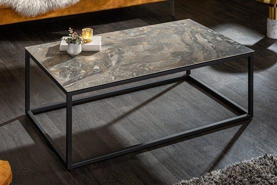riess-ambiente Couchtisch »SYMBIOSE 100cm taupe / schwarz«, Wohnzimmertisch · Keramik · Metall-Gestell · Marmor-Optik · Industrial