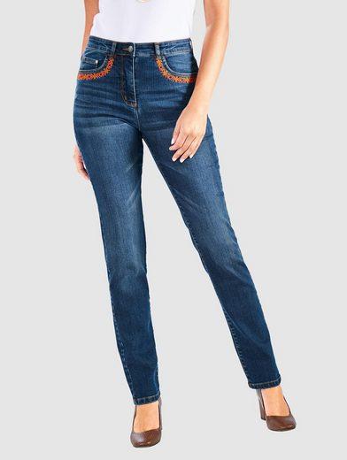 Paola 5-Pocket-Jeans mit Stickerei