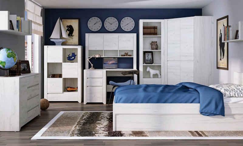 Feldmann-Wohnen Jugendzimmer-Set »ANGEL«, (Set, 7-St., 1 Eckkleiderschrank + 1 Schreibtisch mit Container + 1 Aufsatz für den Schreibtisch + 1 Wandregal + 1 Bett mit Ausziehfunktion + 1 Stauraumschrank + 1 Sideboard)